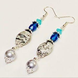 Graceful Gray Jasper Pearl & Teal Crystal Earrings
